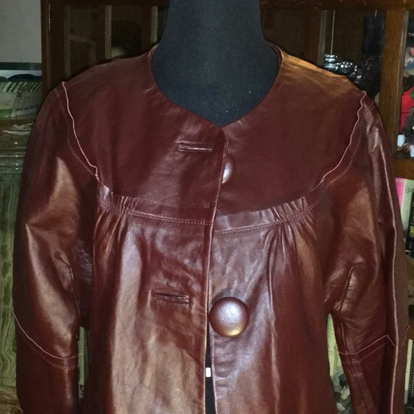 Neiman Marcus Jackets & Blazers - Neiman Marcus Burgundy Leather Jacket L